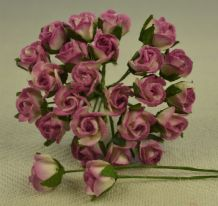 8mm PLUM WHITE SEMI-OPEN ROSE BUDS Mulberry Paper Flowers
